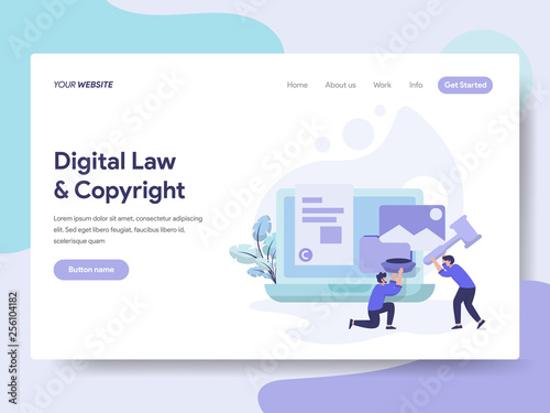 Fotografering  Landing page template of Digital Law and Copyright Illustration Concept