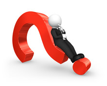 3d White Businessman Lying On A Red Question Mark.