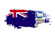 Grunge brush stroke with Falkland Islands national flag. Watercolor painting flag. Symbol, poster, banner of the national flag. Vector Isolated on white background.
