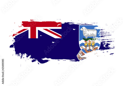 Fototapety, obrazy: Grunge brush stroke with Falkland Islands national flag. Watercolor painting flag. Symbol, poster, banner of the national flag. Vector Isolated on white background.