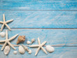 Marine objects, shells and starfish on wood
