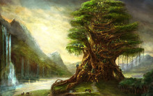 3d Illustration Fantasy Graphic Background Of A Huge Tree With A Lake