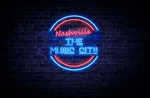 A Red And Blue Neon Light Sign...