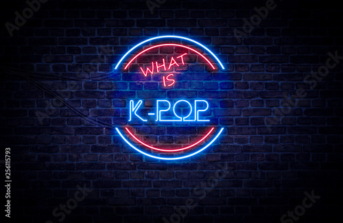 Fotografija  A red and blue neon light sign that reads: What is K-POP