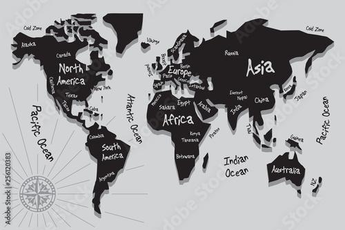 Simple stylized world map silhouette – kaufen Sie diese ...