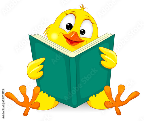 Canvastavla Small chick with a book
