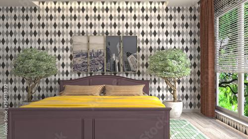 Poster Maroc Bedroom interior. 3d illustration