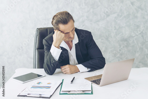 Garden Poster business man is stressed from work , business concept