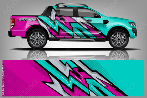 Truck And Car Decal Design Vector Kit Abstract Background Graphics