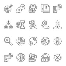 Vector Set Of Dollar Money Outline Concept Icons Or Design Elements