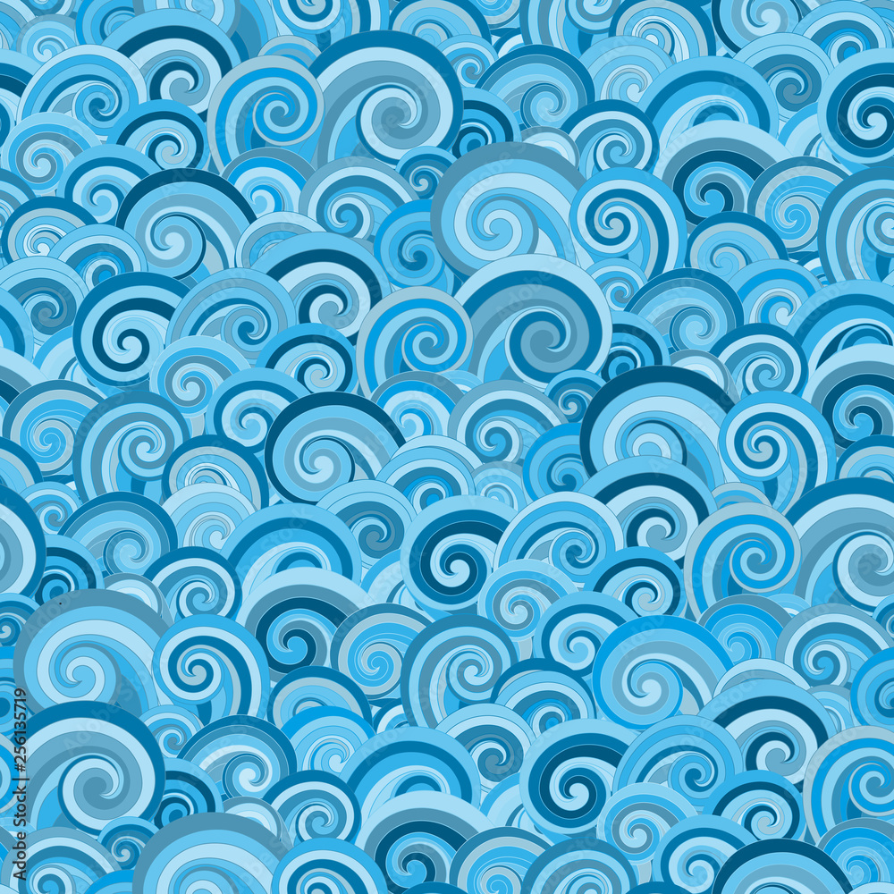Seamless pattern with blue waves.