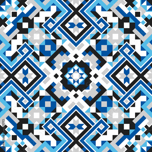 In de dag Boho Stijl Geometric Ethnic Style Vector Seamless Pattern
