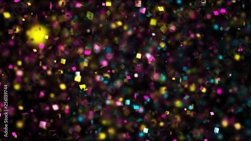 Obraz Thousands of confetti fired on air during a festival at night. Image ideal for backgrounds and overlays. - fototapety do salonu