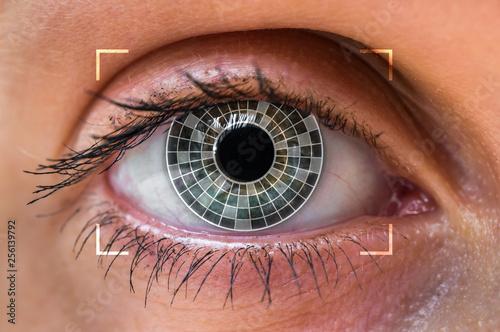 Photo sur Aluminium Iris Eye scanning and recognition - biometric identification concept