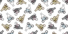 Bear Seamless Pattern Vector Polar Bear Bicycle Riding Cycling Cartoon Illustration Scarf Isolated Tile Background Repeat Wallpaper