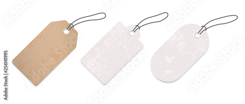 Fototapeta Price tag labels set. Vector sale paper gift blank pricetag with string isolated on white background obraz