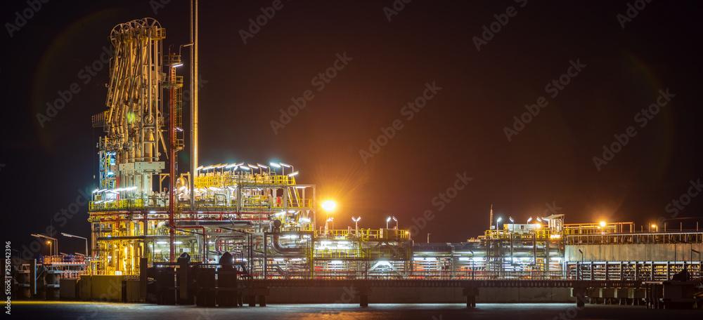 Fototapeta Lng terminal at night, closeup