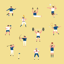Various Sports Player Icon Set. Flat Design Style Minimal Vector Illustration