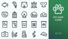 Pets Shop Icons Set. Set Of Fish, Bird, Hamster, Turtle, Mouse, Snake, Cage, Food, Vitamins, Pills, Veterinary, Terrarium, Aquarium Outline Vector Icons