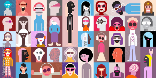 Art abstrait People Portraits vector illustration