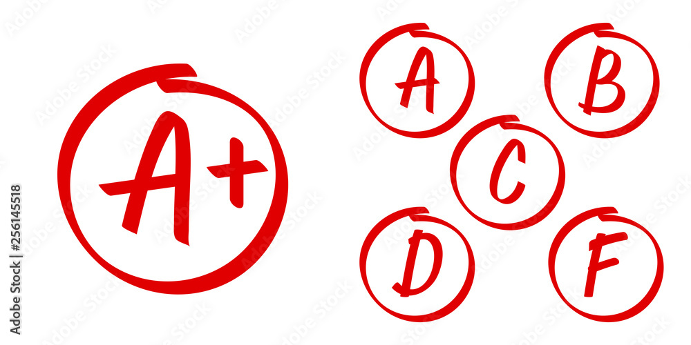 Fototapeta School grade results vector icons. Letters and plus grades marks in red circle