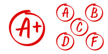 School Grade Results Vector Icons. Letters And Plus Grades Marks In Red Circle