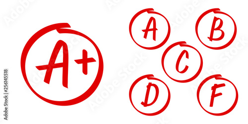 School grade results vector icons. Letters and plus grades marks in red circle - fototapety na wymiar