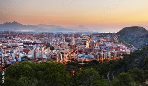Leinwand Poster Spain - Alicante is Mediterranean City, skyline at night