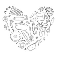 Heart Made Of Elements With Handdrawn Kitchenware On Isolate On A White Background