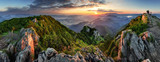 Fototapeta  - Mountain valley during sunrise. Natural summer landscape in Slovakia