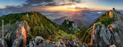 Tuinposter Bomen Mountain valley during sunrise. Natural summer landscape in Slovakia