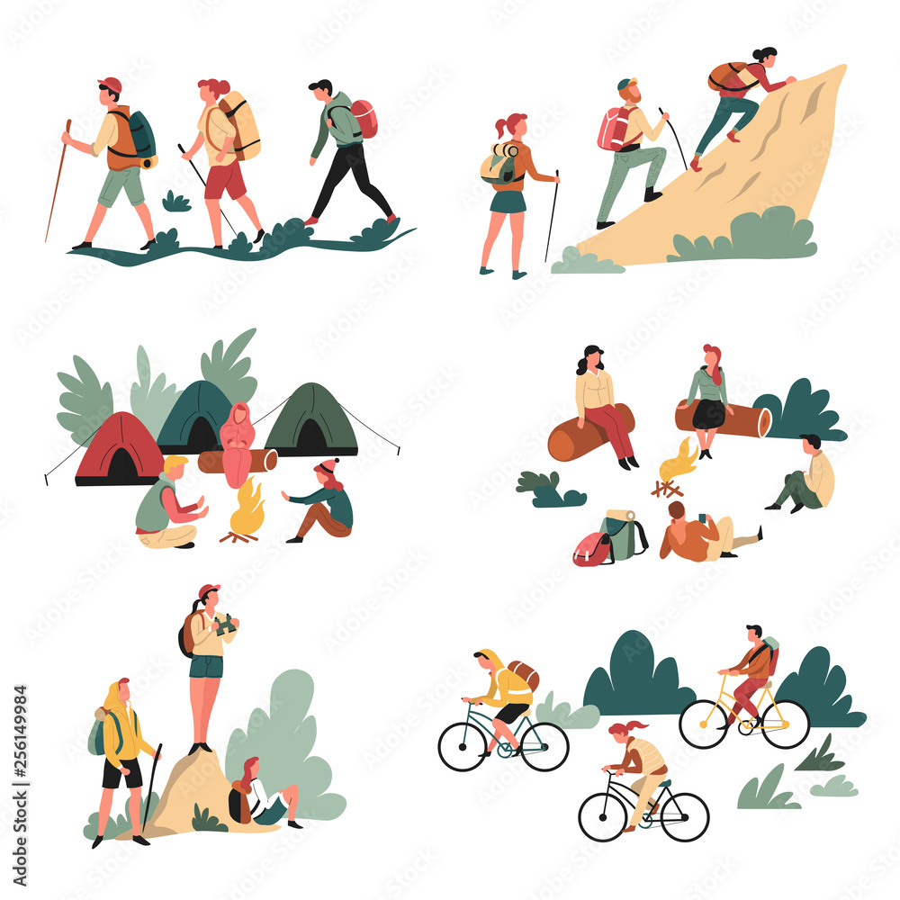 Fototapety, obrazy: Hiking outdoor activity camping and bicycles walking and campfire