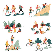 Hiking Outdoor Activity Camping And Bicycles Walking And Campfire