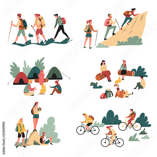 Canvas Print Hiking outdoor activity camping and bicycles walking and campfire