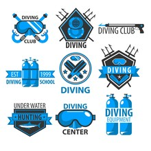 Diving Club Isolated Icons Underwater Swimming Equipment