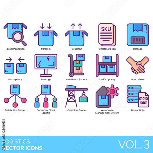 Logistics icons including inspection, parcel in, out, SKU description, barcode, discrepancy, breakage, overflow shipment, shelf capacity, handshake, distribution center, consumer direct, crane, data Canvas Print