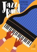 Flyer Or Poster Template For Jazz Festival, Concert, Music Performance With Pianist's Hands Playing Grand Piano And Lettering. Vector Illustration In Contemporary Flat Style For Musical Event Promo.