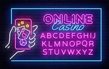 Casino Neon Sign Vector Design Template. Casino Online Neon Frame, Light Banner Design Element Colorful Modern Design Trend, Night Bright Advertising. Vector Illustration. Editing Text Neon Sign