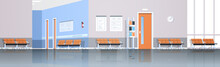 Hospital Corridor Waiting Hall With Information Board Chairs And Doors Empty No People Clinic Interior Panorana Flat Horizontal Banner