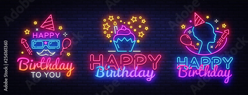 Photo  Happy Birthday neon signs set design template