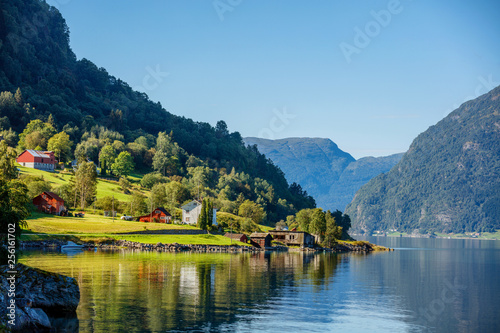 Poster Northern Europe Beautiful Nature Norway natural landscape with fjord and mountain.
