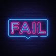 Fail Neon Text Vector. Fail neon sign, design template, modern trend design, night neon signboard, night bright advertising, light banner, light art. Vector illustration