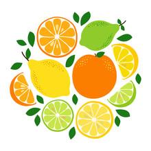 Cute Citrus Fruits Lemon, Lime And Orange Background In Vivid Tasty Colors Ideal For Fresh Lemonade