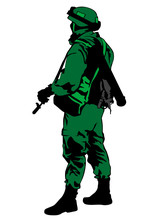 Soldier In Uniform With Gun On...