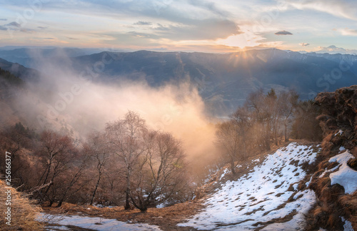 Papiers peints Cappuccino mountain landscape ridges of Karachay-Cherkessia at sunrise