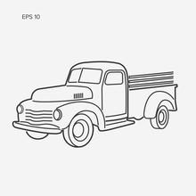 Old Retro Farmer Pickup Truck Line Art Vector Illustration Icon.