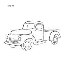 Old Retro Farmer Pickup Truck Vector Illustration. Hand Drawn Icon.