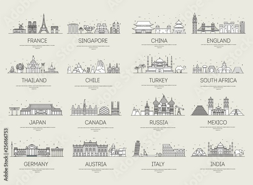 Photo Country thin line icons travel vacation guide places and features
