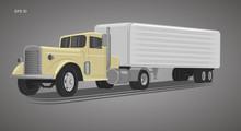 Vintage American Truck Vector Illustration. Retro Freighter Truck.