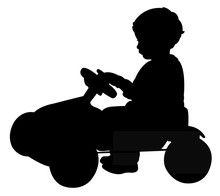 Boy Playing With Toy Car, Silhouette Vector